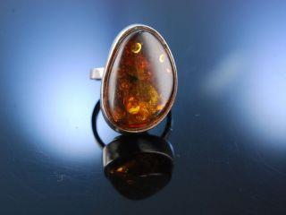 Stylish Vintage Bernstein Ring Silber MÜnchen Um 1970 Amber Ring Silver Bild