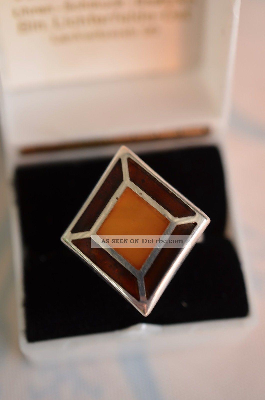 Schöner Ausgefallener Silber 925 Bernsteinring Ringe Bild