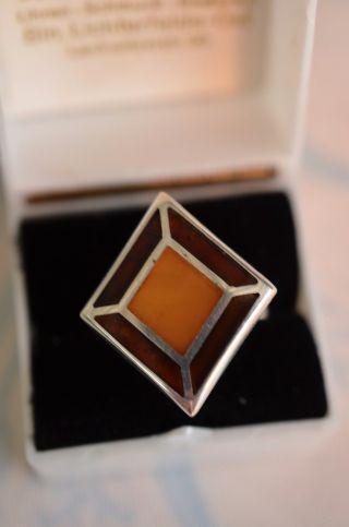 Schöner Ausgefallener Silber 925 Bernsteinring Bild