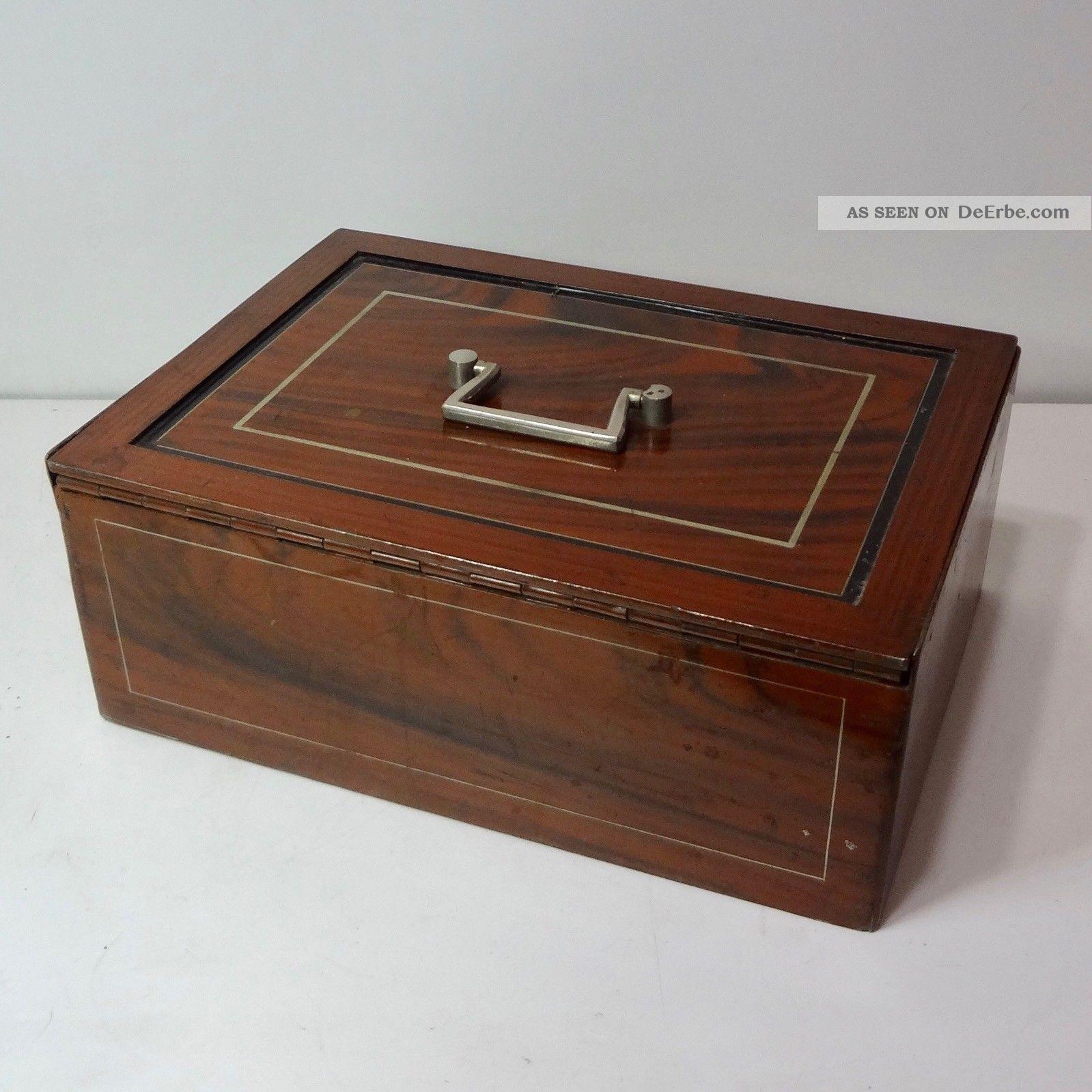 Uralte Geldkassette Kasse Um 1900 Vollmetall Maseriert Mit Schlüssel - 6,  8 Kg Kaufleute & Krämer Bild