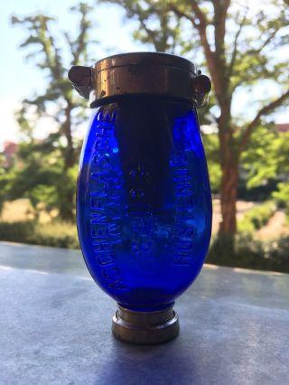 , Extr Selten,  Taschenflasche Blauer Heinrich / Dr Patent / Aufschrift Im Glas Bild