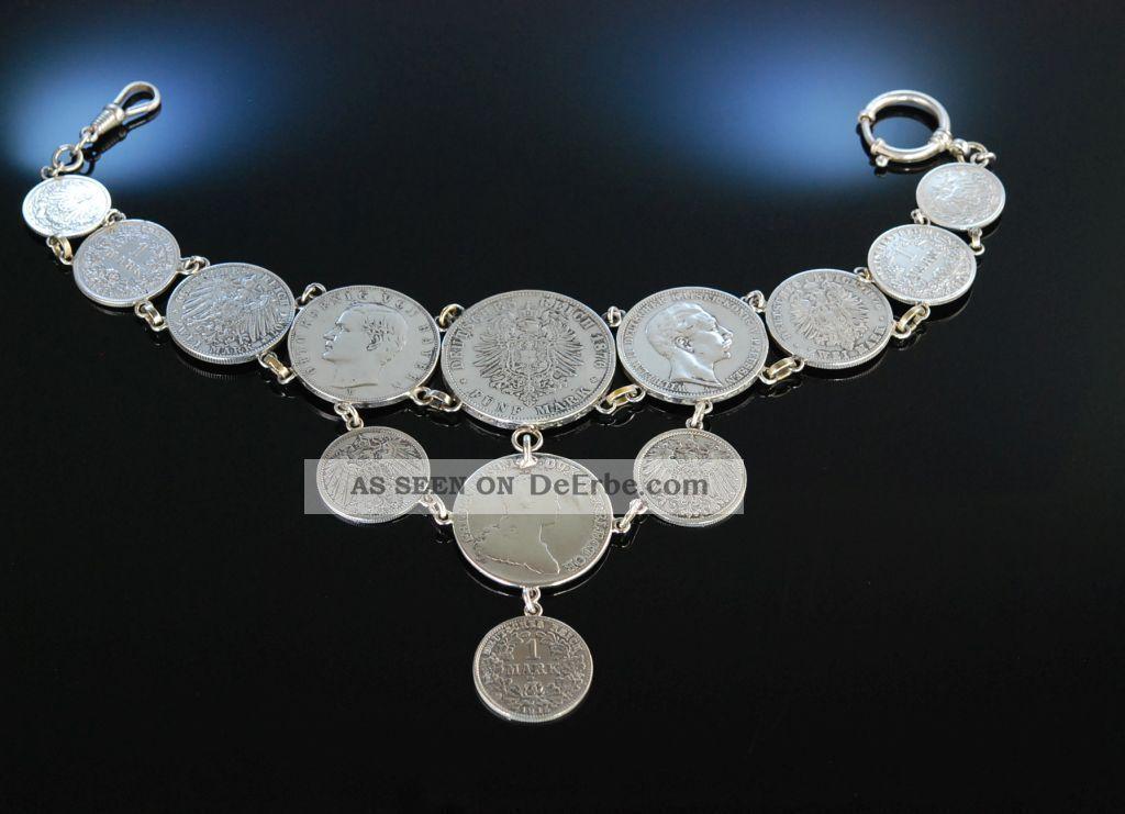 Antikes Grosses MÜnz Charivari Zu Tracht Silber 13 SilbermÜnzen Garmisch Um 1910 Volkskunst Bild