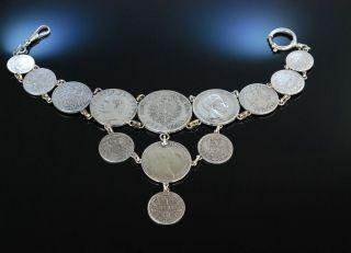 Antikes Grosses MÜnz Charivari Zu Tracht Silber 13 SilbermÜnzen Garmisch Um 1910 Bild