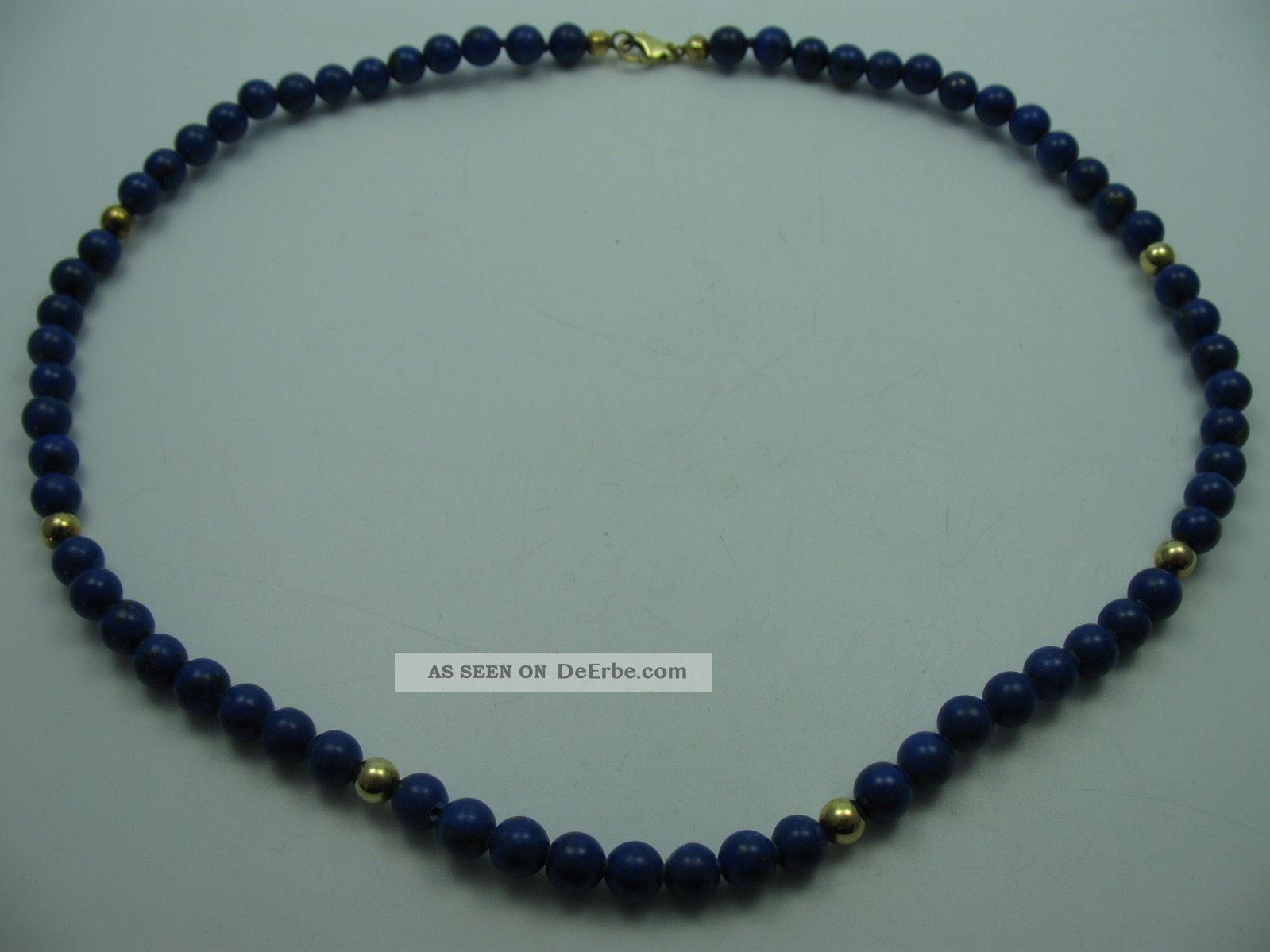 Sehr Schöne Halskette Aus Echtem Lapislazuli Mit 925 Silber Schließe Ketten Bild