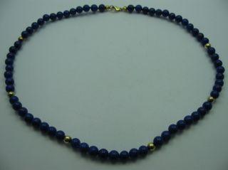 Sehr Schöne Halskette Aus Echtem Lapislazuli Mit 925 Silber Schließe Bild