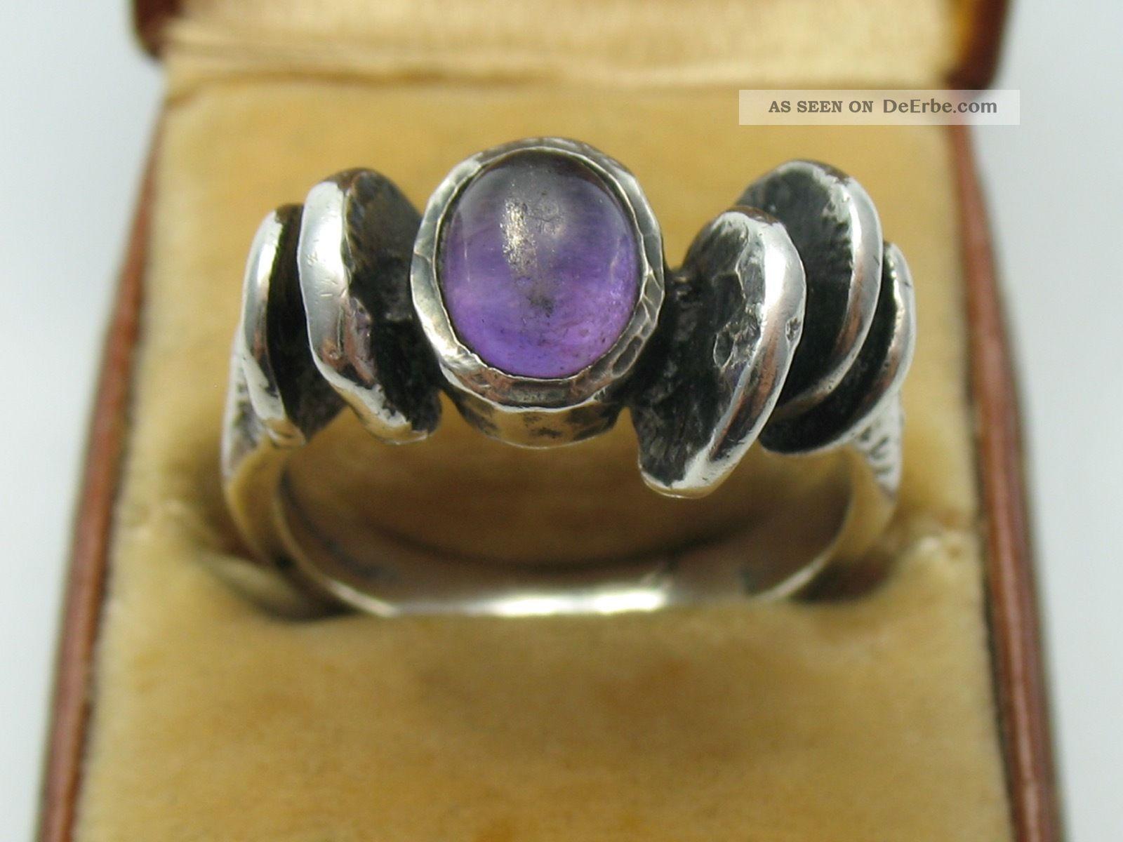 Handarbeit Vintage Modernist Amethyst Ring Im Oly Stil Aus 925 Silber Ringe Bild