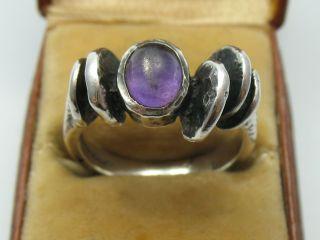 Handarbeit Vintage Modernist Amethyst Ring Im Oly Stil Aus 925 Silber Bild