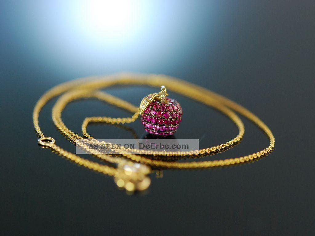 Apfel AnhÄnger Zartes Collier Gold 750 Rubine Rosa Saphire Brillanten Ruby Apple Ketten Bild