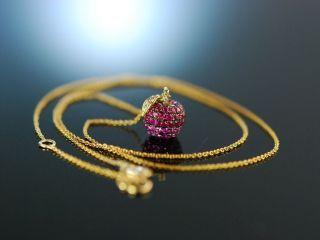 Apfel AnhÄnger Zartes Collier Gold 750 Rubine Rosa Saphire Brillanten Ruby Apple Bild