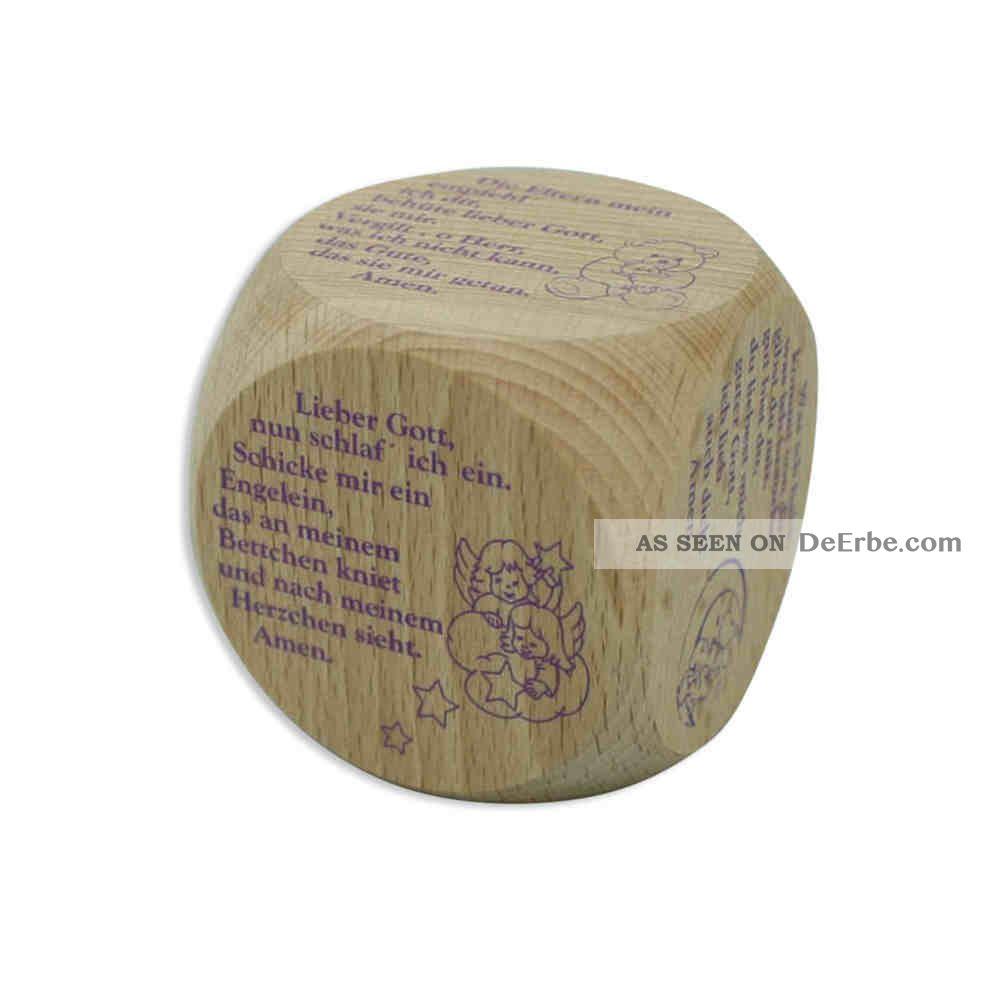 Gebetswürfel Holz Natur Kindergebete / Illustrationen Lila 5,  5 Cm Rel. Andenken & Mitbringsel Bild