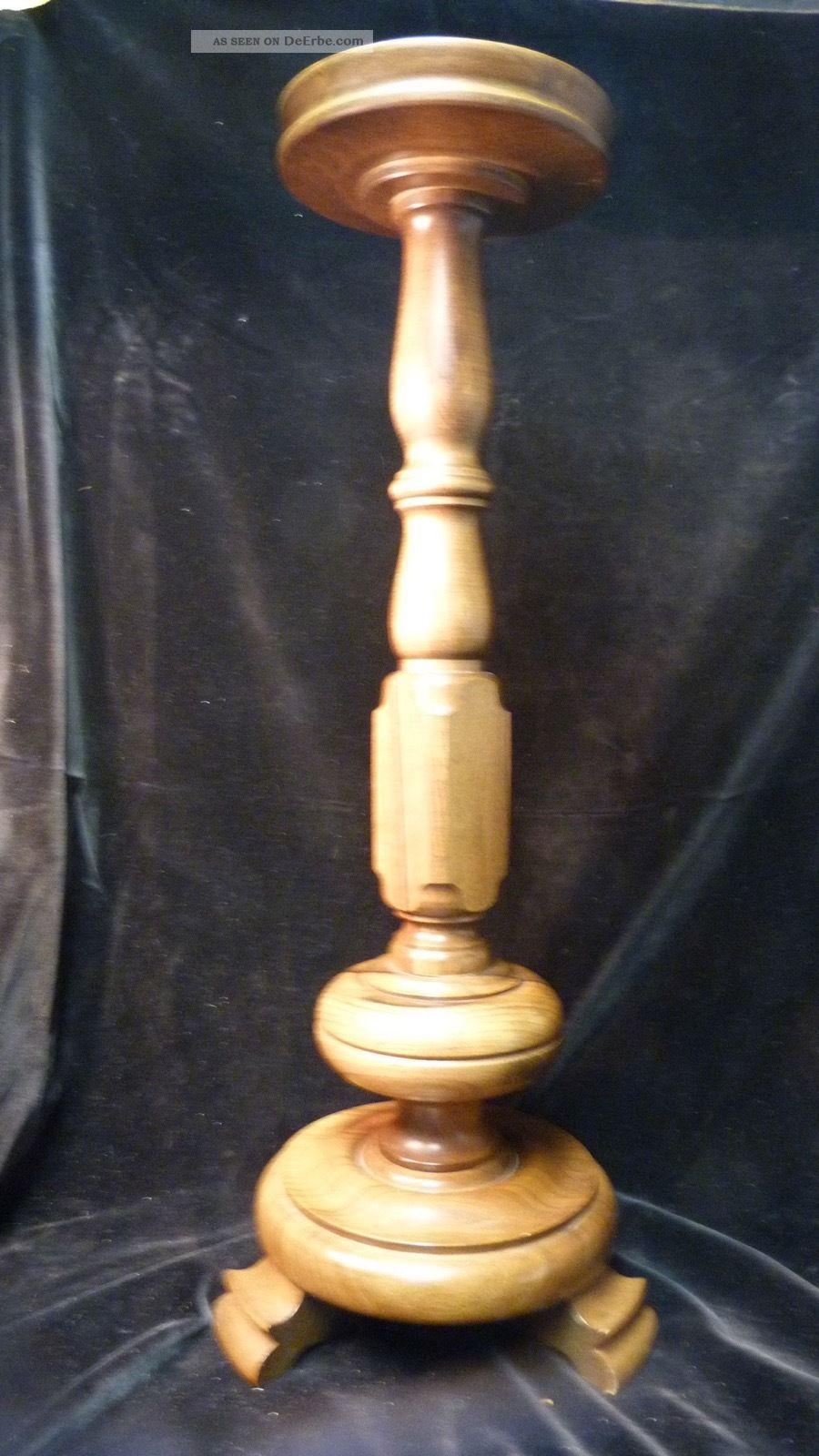 Vintage Boden Kerzenständer Holz - 65,  0cm - Ca.  50/60er Jahre - Altdeutsch Holzarbeiten Bild