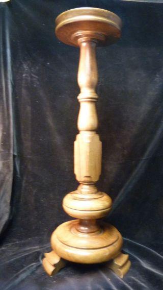 Vintage Boden Kerzenständer Holz - 65,  0cm - Ca.  50/60er Jahre - Altdeutsch Bild