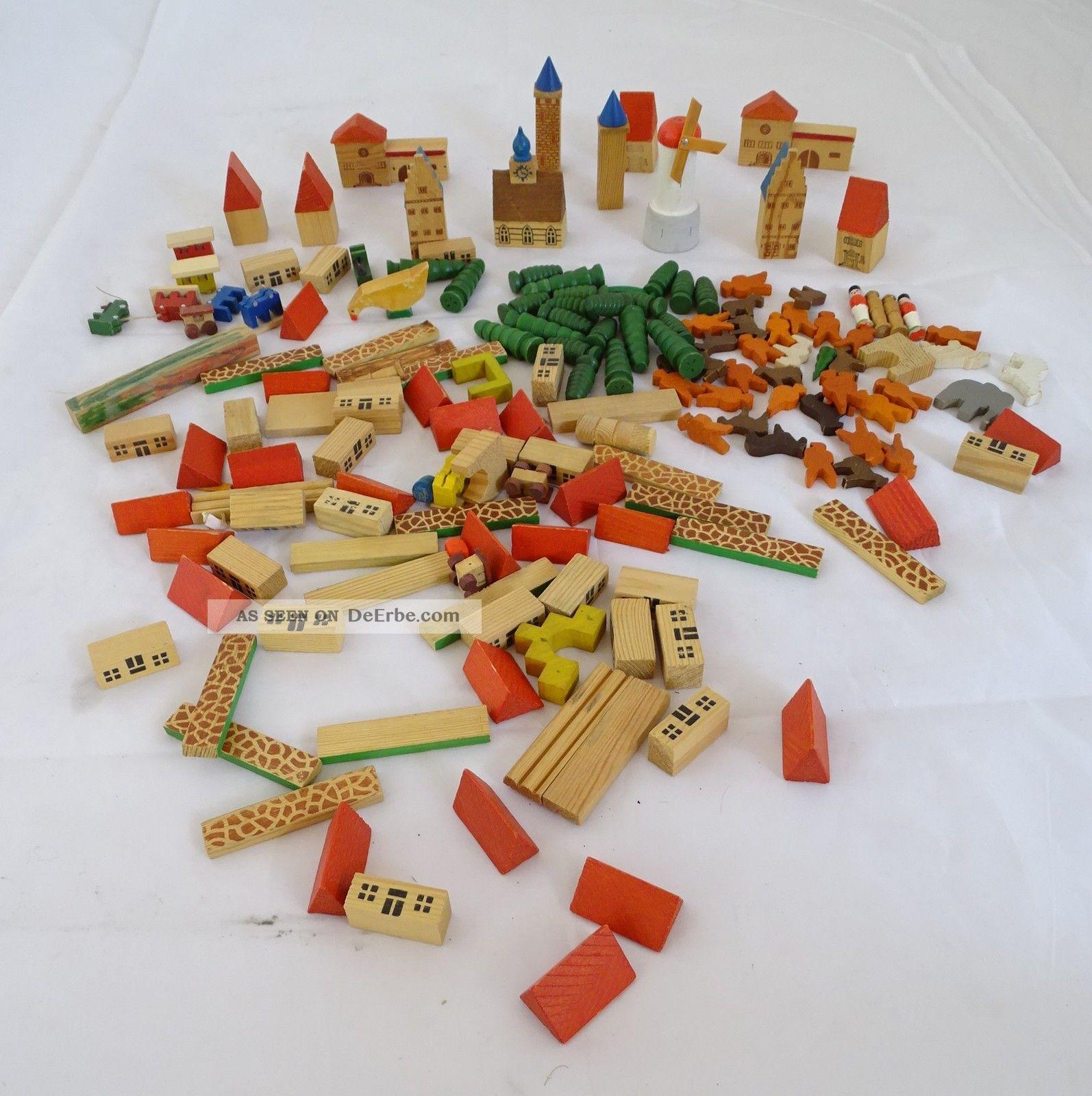 Konvolut Miniatur Holzspielzeug Stadt Windmühle Bauklötze Häuser Wohl Erzgebirge Holzspielzeug Bild