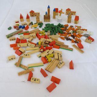 Konvolut Miniatur Holzspielzeug Stadt Windmühle Bauklötze Häuser Wohl Erzgebirge Bild