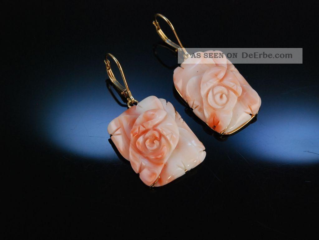 Grosse Ohrringe Echte Engelshaut Koralle Rosen BlÜte Gold 585 Coral Earrings Schmuck & Accessoires Bild