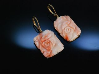 Grosse Ohrringe Echte Engelshaut Koralle Rosen BlÜte Gold 585 Coral Earrings Bild