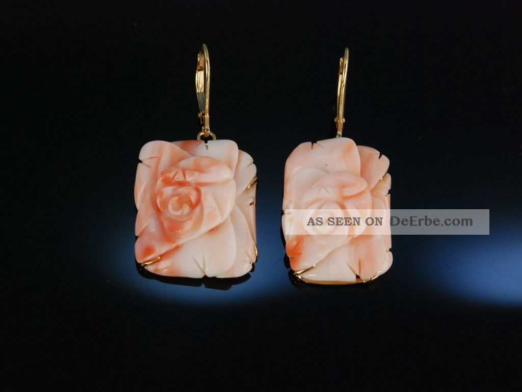 grosse ohrringe echte engelshaut koralle rosen bl te gold 585 coral earrings. Black Bedroom Furniture Sets. Home Design Ideas