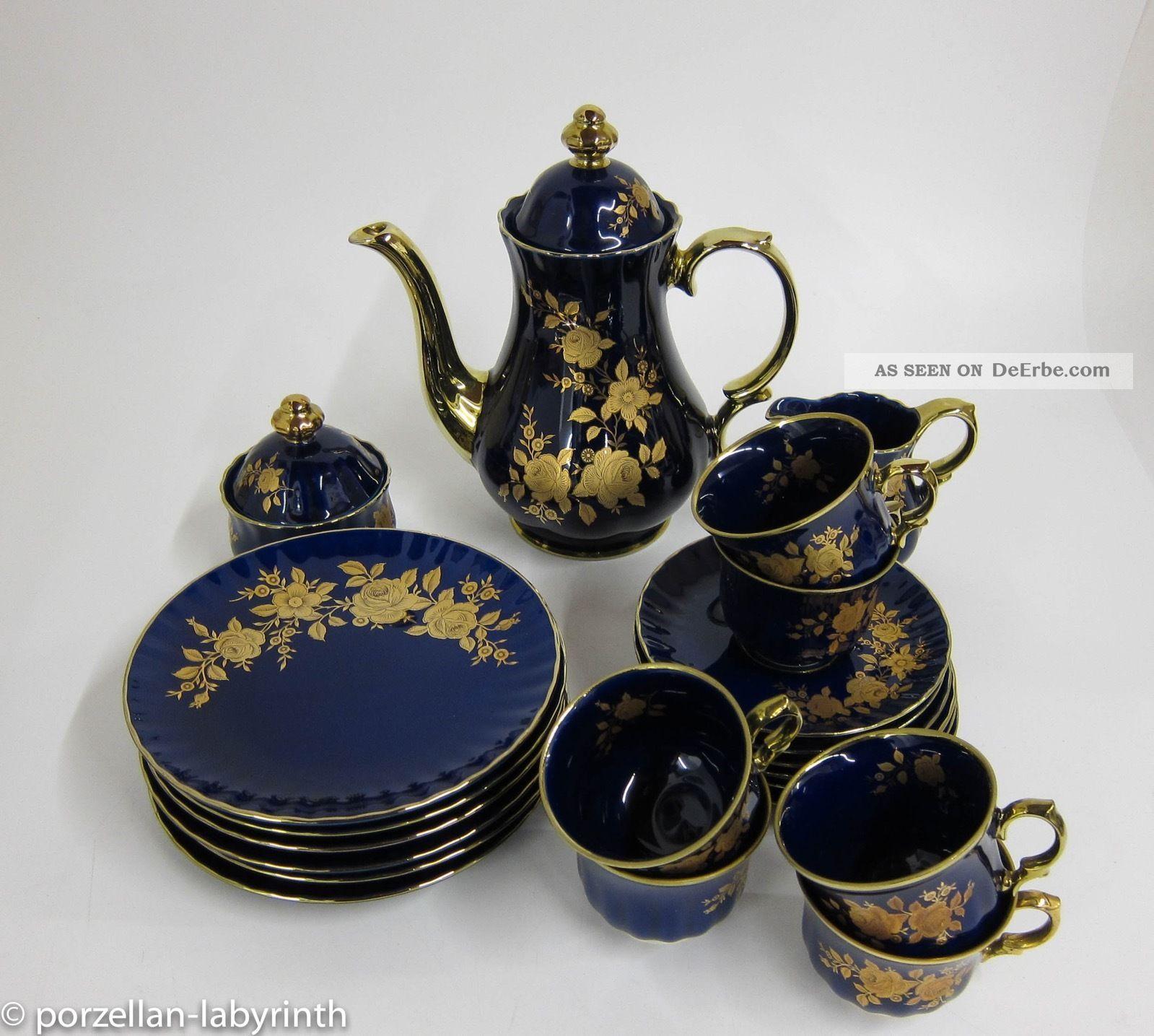 Kaffeeservice 6 Personen Wunsiedel Bavaria Porzellan Echt Kobalt Gold Kanne Nach Form & Funktion Bild