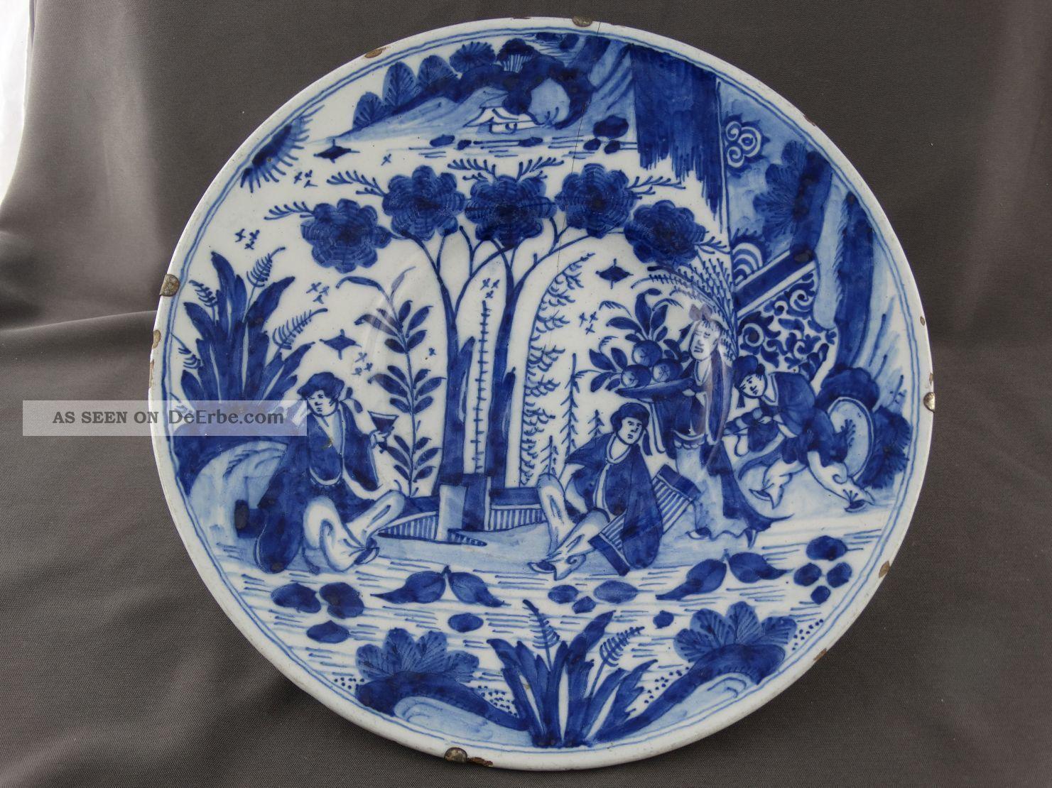 Großer Antiker Teller Keramik Vor 1800 Holland Gk / Kruyk Chin.  Dekor Personen 3 Nach Stil & Epoche Bild