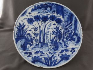 Großer Antiker Teller Keramik Vor 1800 Holland Gk / Kruyk Chin.  Dekor Personen 3 Bild