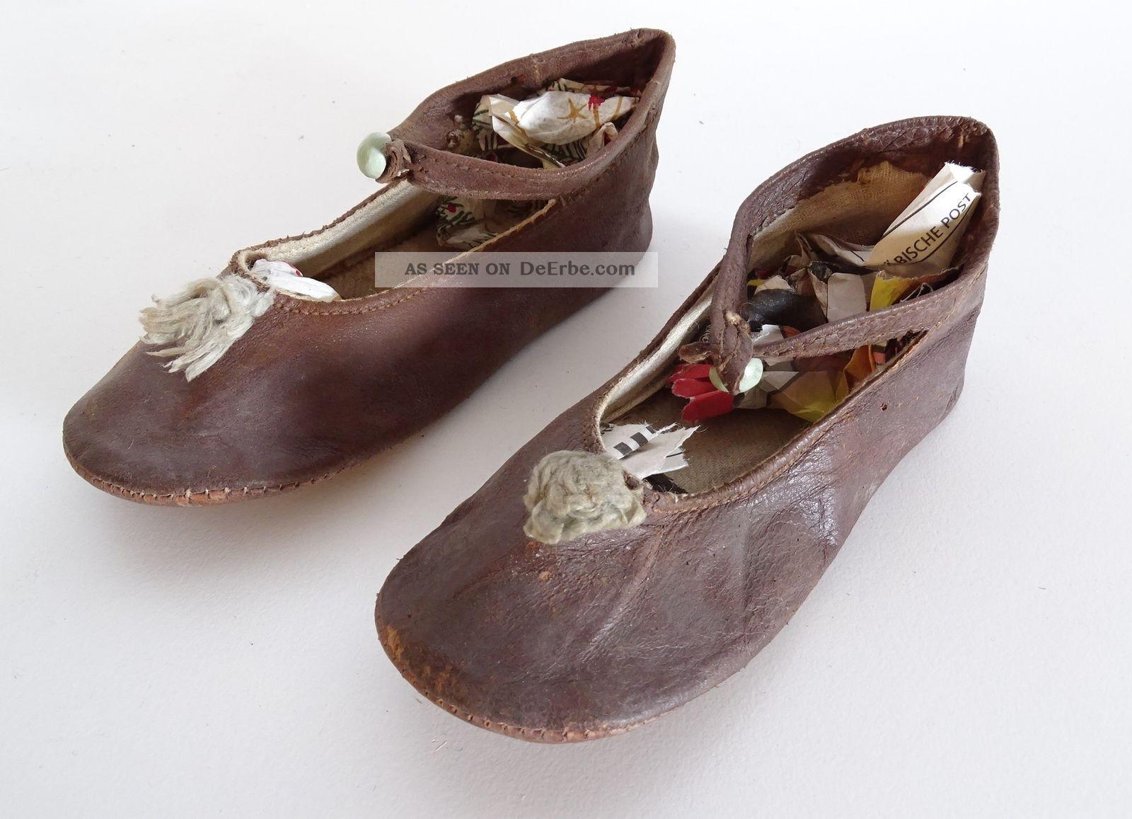 Paar Antike Leder Kinderschuhe Babyschuhe Doll Shoes Shabby Chic Um 1920/1930 Alte Berufe Bild