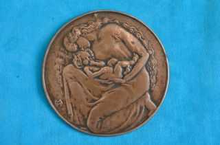 Alte Bronzeplakette/medaille Bronzerelief 19900/1910 Signiert Mh Bild