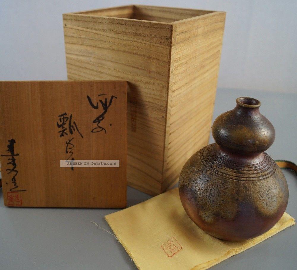 Handgetöpferte Japanische Sake Flasche Guinomi Japan Bottle Keramik Pottery 3477 Entstehungszeit nach 1945 Bild