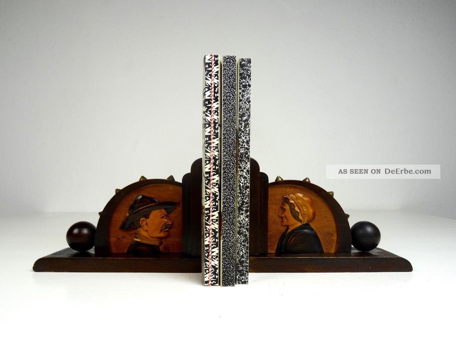 Art Deco Seltene FranzÖsische BuchstÜtzen Signiert Antik Bretagne 1920-1949, Art Déco Bild