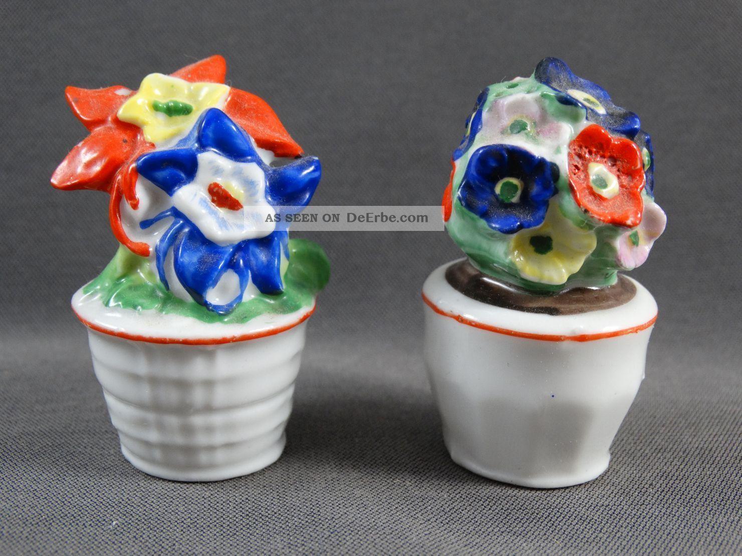 Alte Salzstreuer 2 Figuren Blumentöpfe Bunte Blumen Nach Form & Funktion Bild