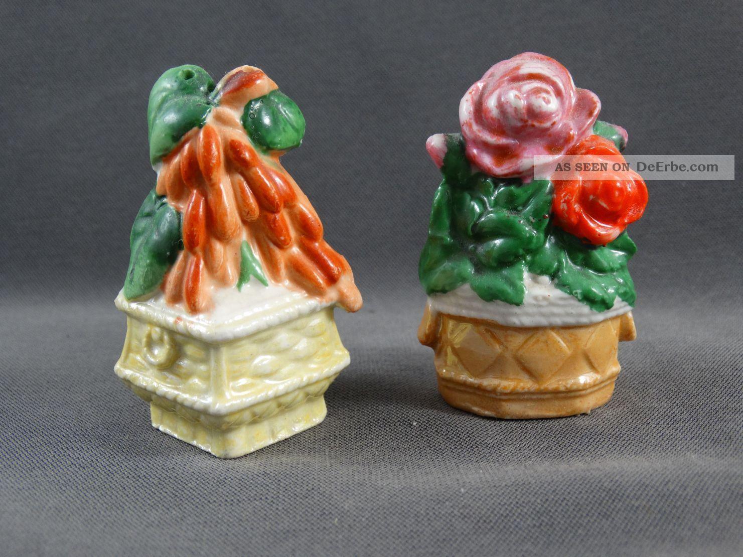 Alter Salzstreuer 2 Figuren Blumentöpfe Blumen Rose Nach Form & Funktion Bild