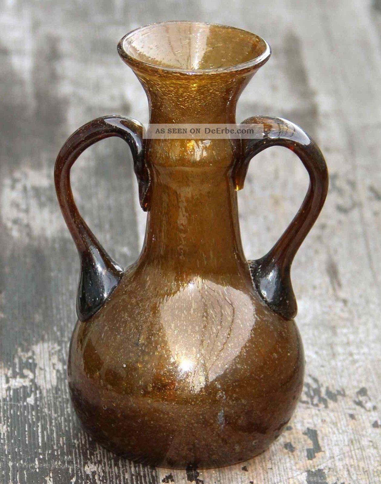 Glasvase Vase Aus Südfrankreich - Biot ? - Braunes Glas Mit Blasen - 15 Cm Toll Dekorglas Bild