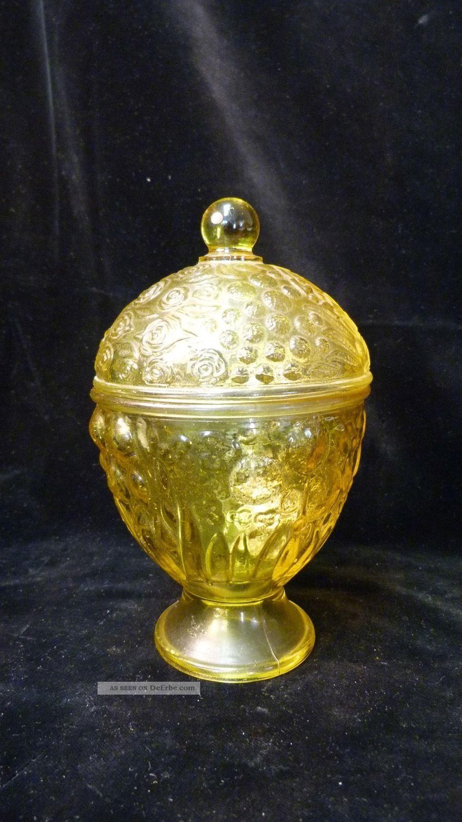 Vintage Glasdose Mit Deckel - Gelb - Höhe Ca.  15cm - Pressglas - Aus Nachlass Dekorglas Bild