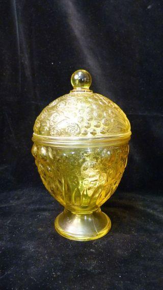 Vintage Glasdose Mit Deckel - Gelb - Höhe Ca.  15cm - Pressglas - Aus Nachlass Bild