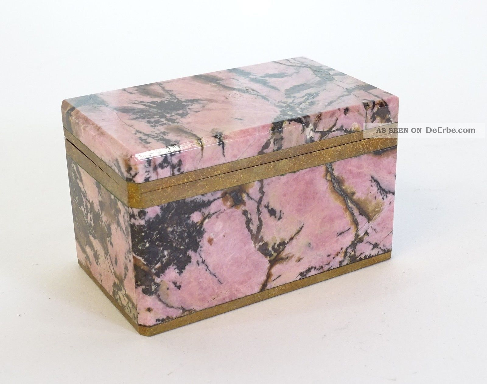 Herrliche Antike Massive Marmor Schatulle Schmuckbox Rosa Schwarz Schmuck & Accessoires Bild