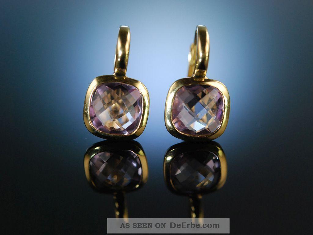 Italian Style Moderne Ohrringe Gold Pink Amethyst Schachbrettschliff Earrings Schmuck & Accessoires Bild