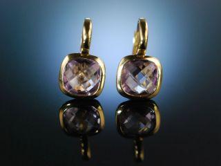 Italian Style Moderne Ohrringe Gold Pink Amethyst Schachbrettschliff Earrings Bild