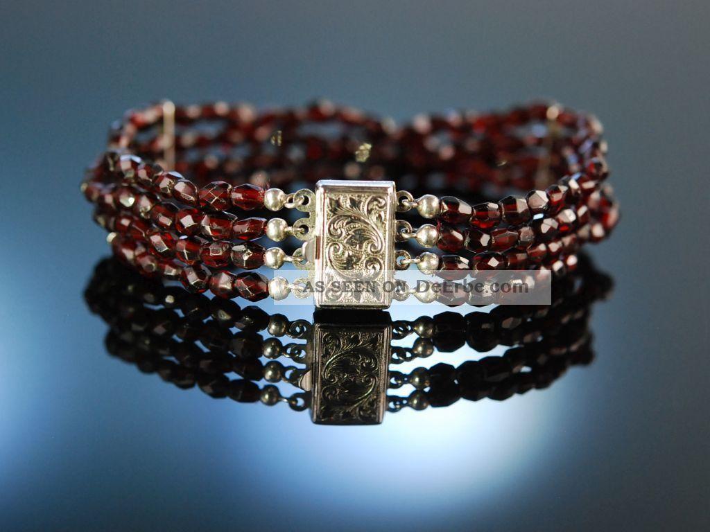 Funkelnde Granate SchÖnes Trachten Armband 4reihig Silber 835 Garnet Bracelet Schmuck & Accessoires Bild