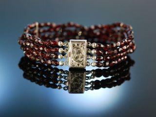 Funkelnde Granate SchÖnes Trachten Armband 4reihig Silber 835 Garnet Bracelet Bild
