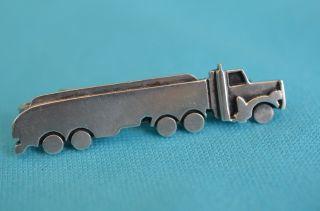 Ausgefallene Alte Krawattenklammer Für Trucker Tanklastzug Silber 925 Bild