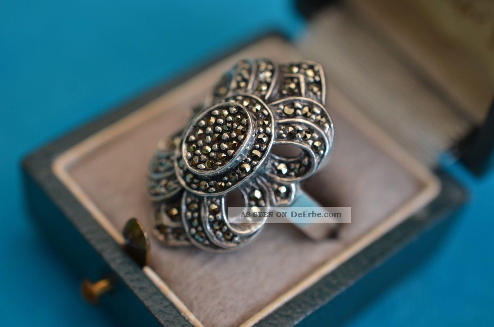 Alter Eleganter Art Deco Damenring Silber 925 Mit Makasiten Besetzt Ringe Bild