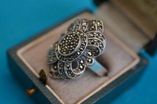 Alter Eleganter Art Deco Damenring Silber 925 Mit Makasiten Besetzt Bild