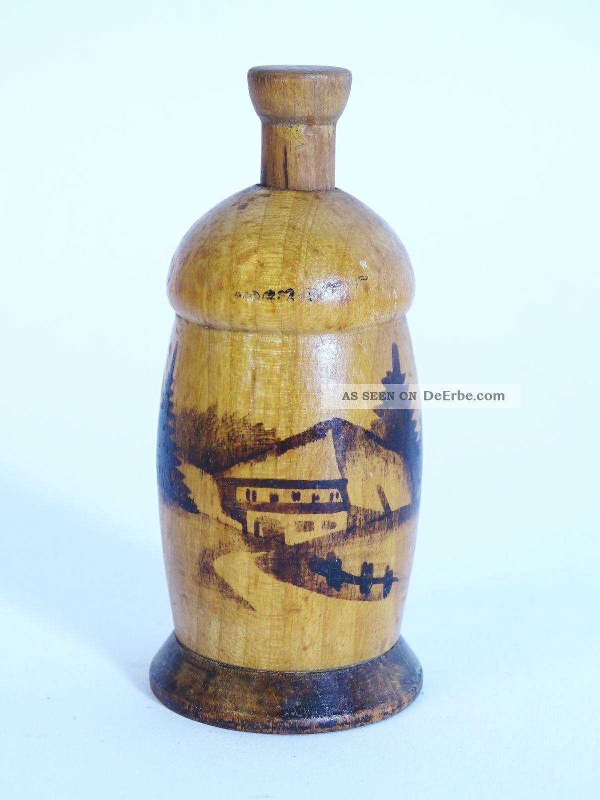Antike Rarität Holz Pfeffermühle Birold Qualität Schwarzwald Haus Motiv Haushalt Bild