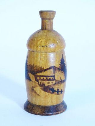 Antike Rarität Holz Pfeffermühle Birold Qualität Schwarzwald Haus Motiv Bild