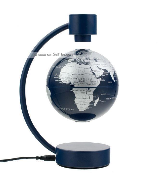 Stellanova Globus 10cm Silber / Blau 881090 Magnet - Schwebeglobus Globe World. Wissenschaftliche Instrumente Bild