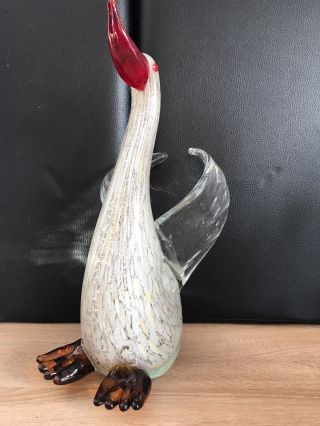 Muranoglas Stil Glaskunst Xl Gans Selbst - Stehend 46 Cm Schwer 5 Kg Mod.  4 Bild