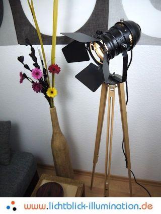 Film Tripod Studio Strahler Bauhaus Steh Lampe Holz Stativ Spot Leuchte Art Deco Bild