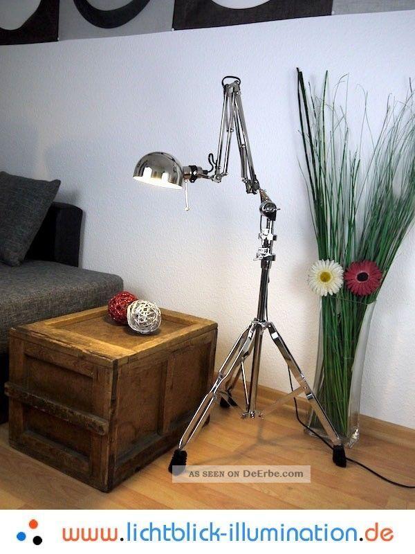 Machine Age Industrie Design Gelenklampe Bauhaus Tripod Loft Lampe Chrom Leuchte Ab 2000 Bild