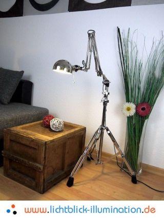 Machine Age Industrie Design Gelenklampe Bauhaus Tripod Loft Lampe Chrom Leuchte Bild