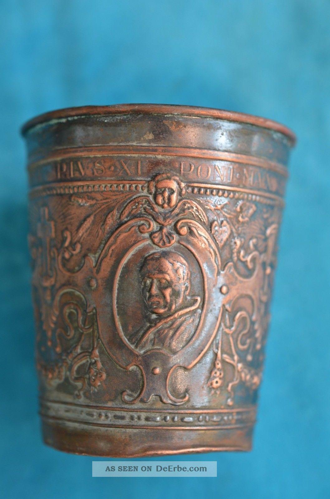 Alter Antiker Taufbecher Kirchenbecher Mit Bildnis Pius Xi Poni Max 1925 Kirchliches Gerät & Inventar Bild
