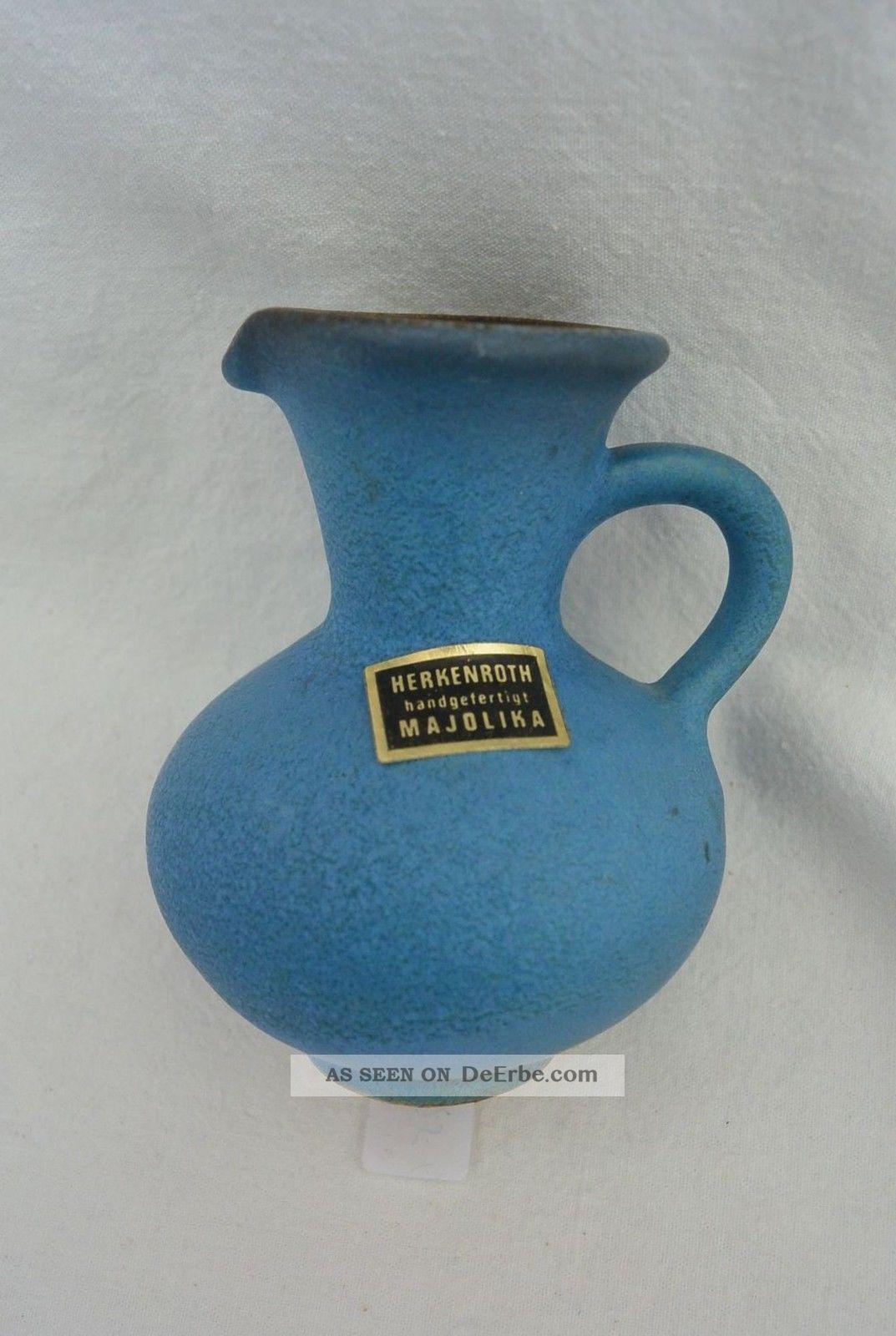 Majolika Herkenroth Kleine Tischvase Krug Handarbeit Blau Gb 1695 Nach Marke & Herkunft Bild